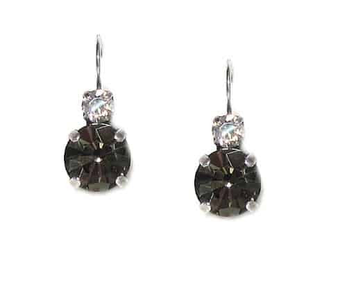 Mariana Silver Plated Petite Round Swarovski Drop Earrings in Clear Crystal and Burgundy