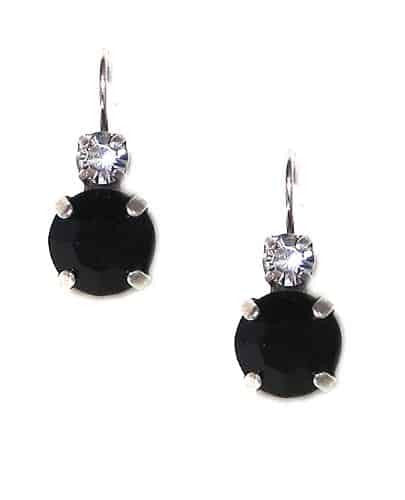 Mariana Jewelry Silver Plated Petite Round Swarovski Crystal Drop Earrings in Clear Crystal and Jet