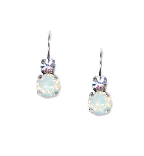 Mariana Jewelry Silver Plated Petite Round Swarovski Crystal Drop Earrings in Clear and White Opal