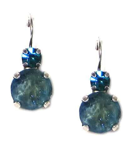 Mariana Silver Plated Petite Round Swarovski Drop Earrings in Dark Teal Crystal and Montana Crystal