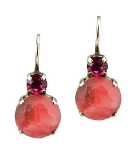 Mariana Silver Plated Petite Round Swarovski Crystal Drop Earrings in Fuchsia and Peach Opal