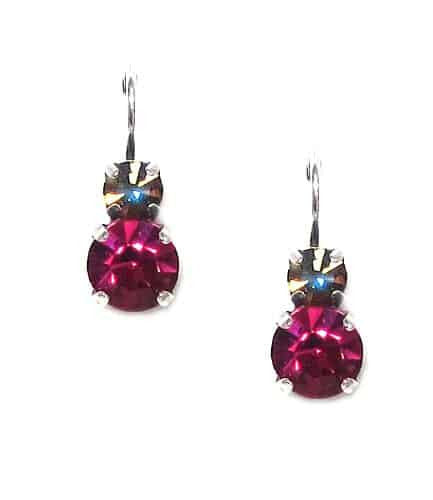 Mariana Jewelry Silver Plated Petite Round Swarovski Crystal Drop Earrings in Jet and Fuchsia