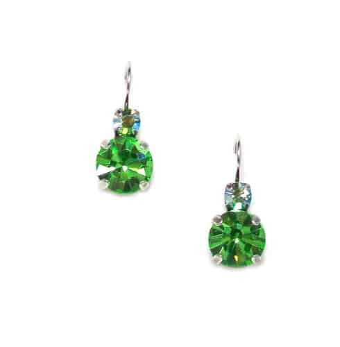 Mariana Silver Plated Petite Round Swarovski Crystal Drop Earrings in Light Green