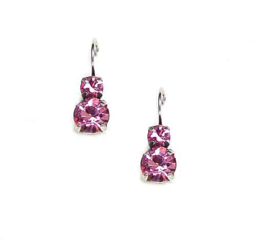 Mariana Jewelry Silver Plated Petite Round Swarovski Crystal Drop Earrings in Light Rose