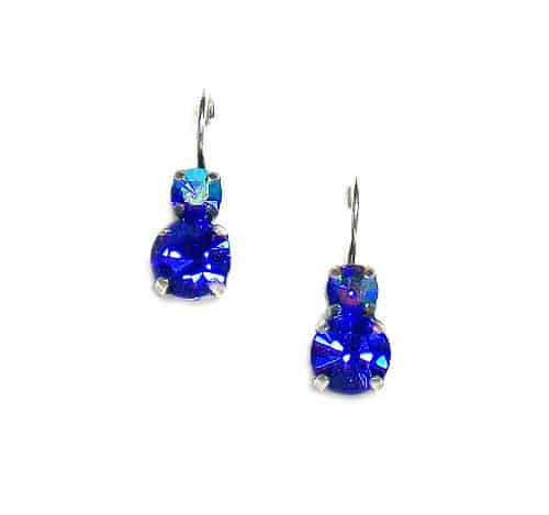 Mariana Jewelry Silver Plated Petite Round Swarovski Crystal Drop Earrings in Montana and Blue