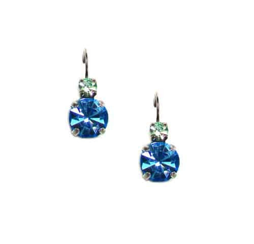 Mariana Jewelry Silver Plated Petite Round Swarovski Crystal Drop Earrings in Sea Green and Aqua