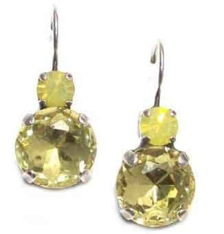 Mariana Jewelry Silver Plated Petite Round Swarovski Crystal Drop Earrings in Sunflower and Lime
