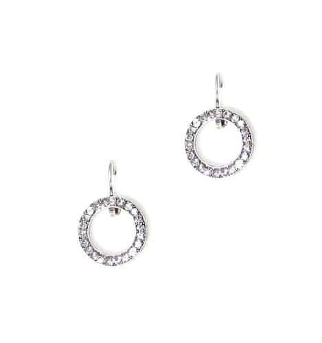 Mariana Jewelry Silver Plated Swarovski Crystal Round Earrings in Black Diamond Crystal