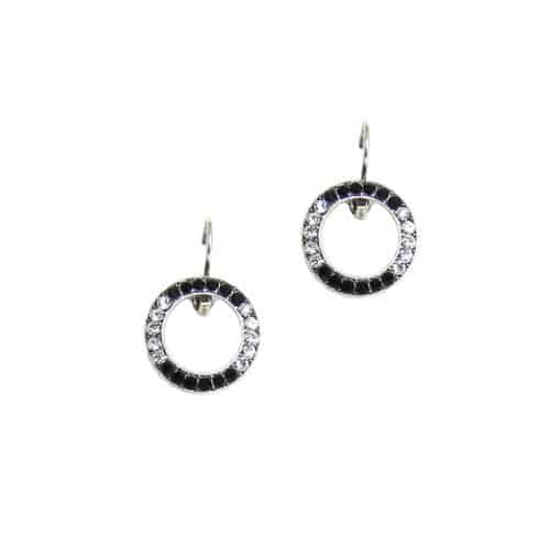 Mariana Silver Plated Swarovski Crystal Round Earrings in Clear and Jet Crystal