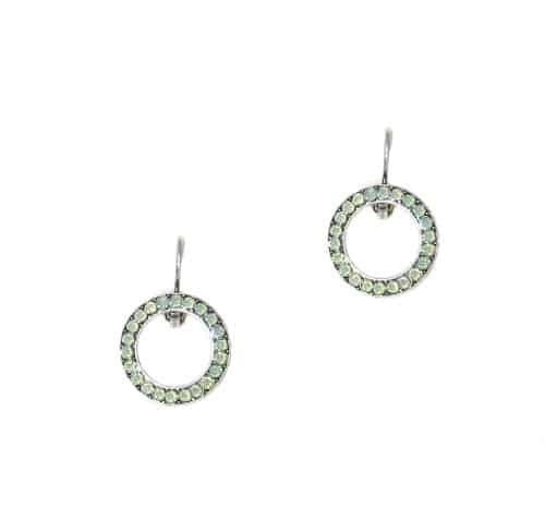 Mariana Jewelry Silver Plated Swarovski Crystal Round Earrings in Pacific Opaque Crystal