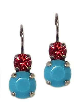 Mariana Jewelry Silver Plated Petite Round Light Siam and Aquamarine Swarovski Crystal Drop Earrings