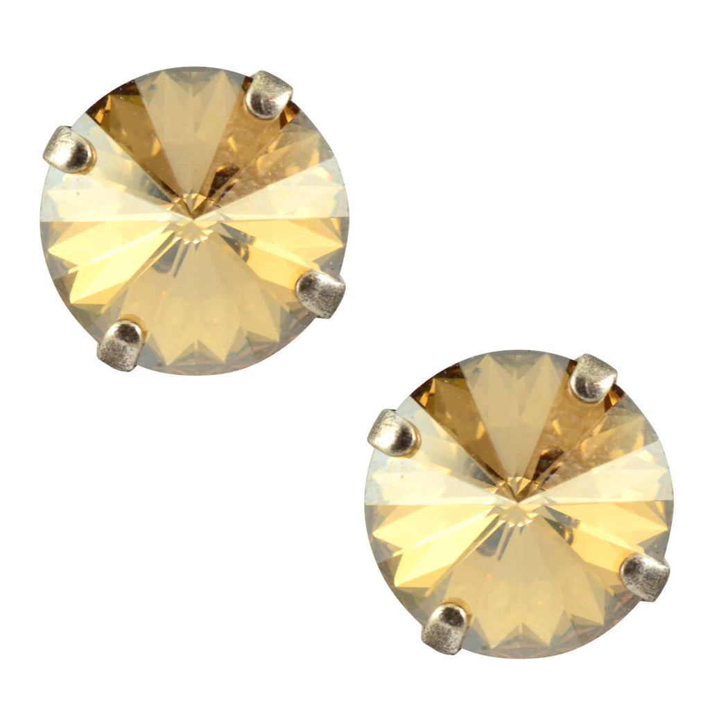 Mariana Jewelry Silver Plated Petite Round Swarovski Crystal Post Earrings