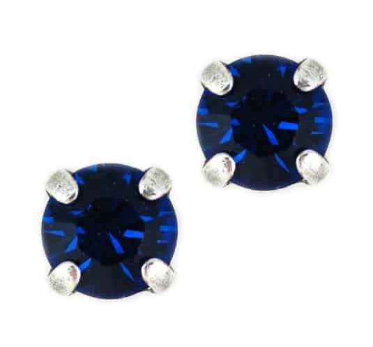 Mariana Jewelry Silver Plated Petite Round Swarovski Crystal Post Earrings in Capri Blue