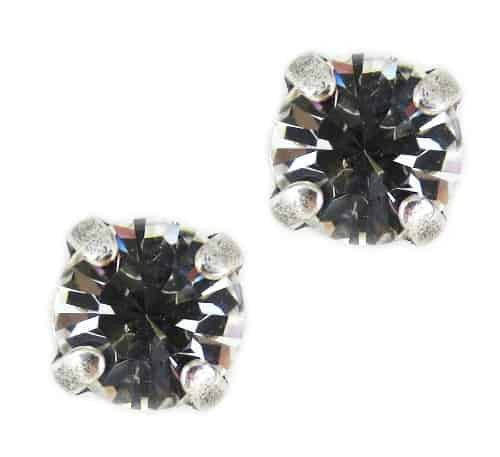 Mariana Jewelry Silver Plated Petite Round Swarovski Crystal Post Earrings in Clear