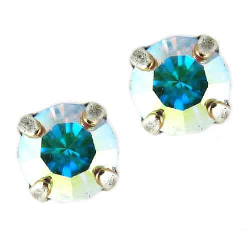 Mariana Jewelry Silver Plated Petite Round Swarovski Crystal Post Earrings in Clear Crystal AB