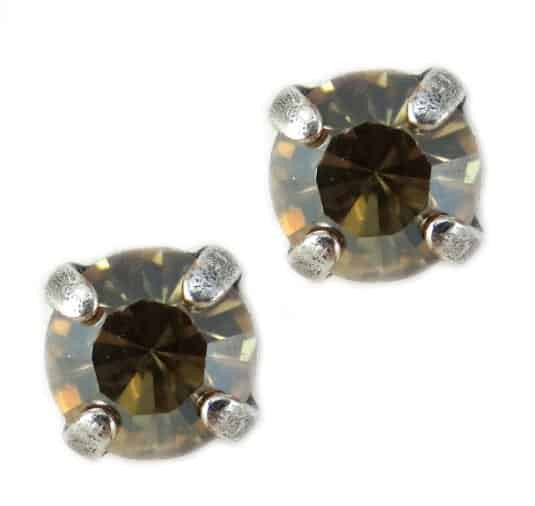 Mariana Jewelry Silver Plated Petite Round Swarovski Crystal Post Earrings in Greige