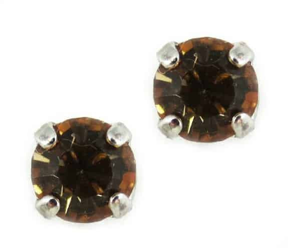 Mariana Jewelry Silver Plated Petite Round Swarovski Crystal Post Earrings in Light Colorado Fawn