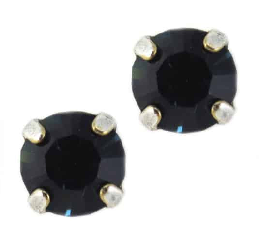 Mariana Jewelry Silver Plated Petite Round Swarovski Crystal Post Earrings in Montana