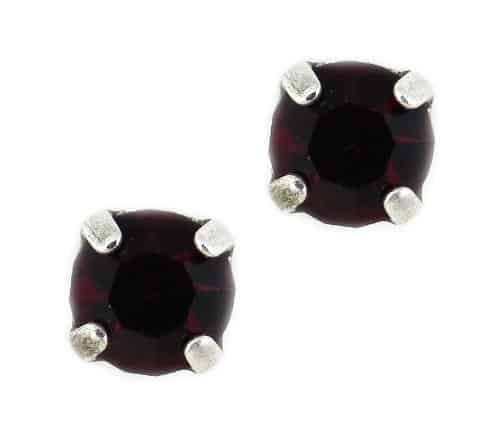 Mariana Jewelry Silver Plated Petite Round Swarovski Crystal Post Earrings in Siam