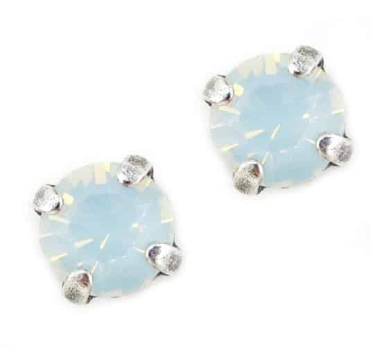 Mariana Jewelry Silver Plated Petite Round Swarovski Crystal Post Earrings in White Opaque