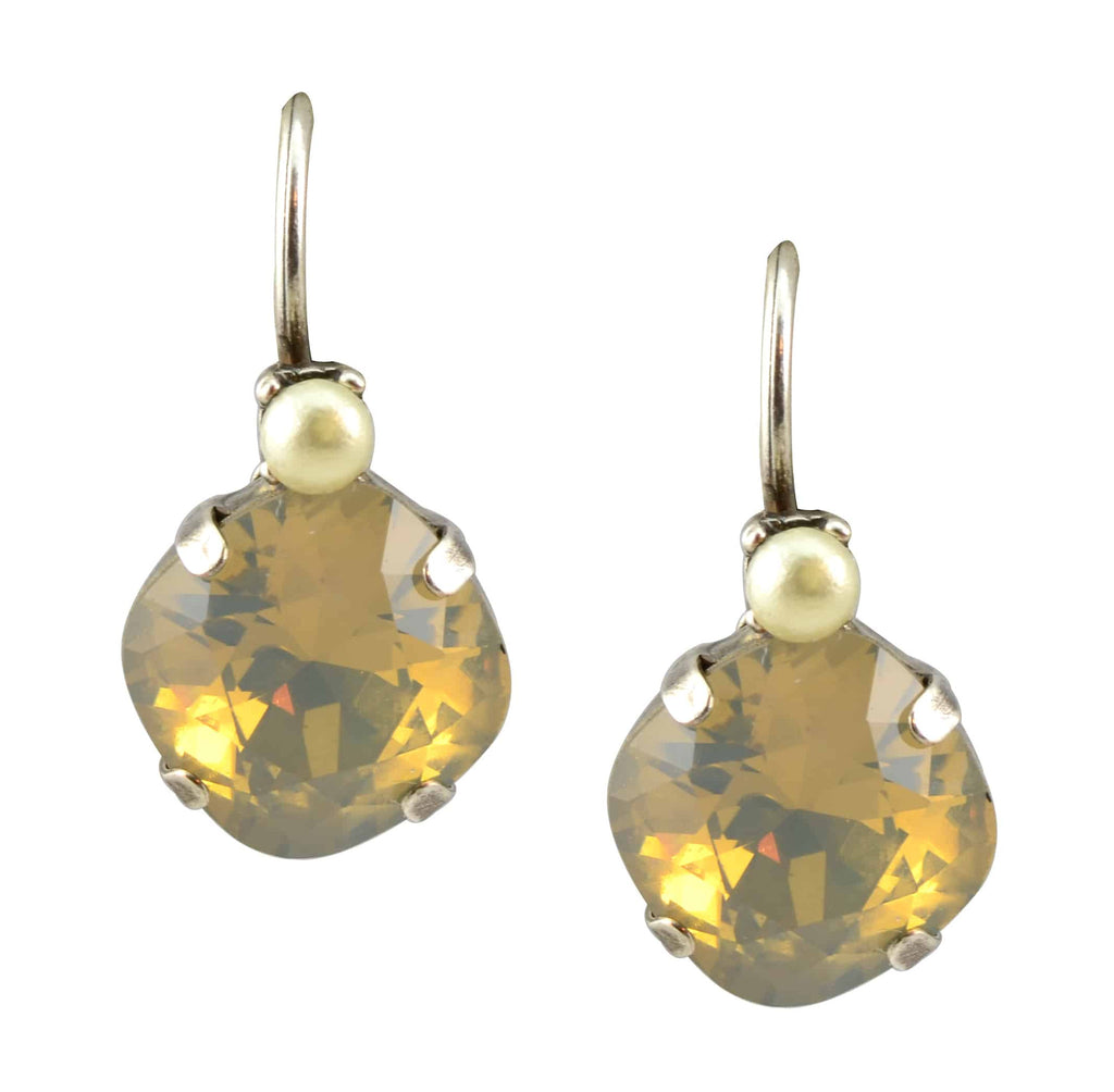 Mariana Jewelry Silver Plated Round Petite Stack Swarovski Crystal Drop Earrings