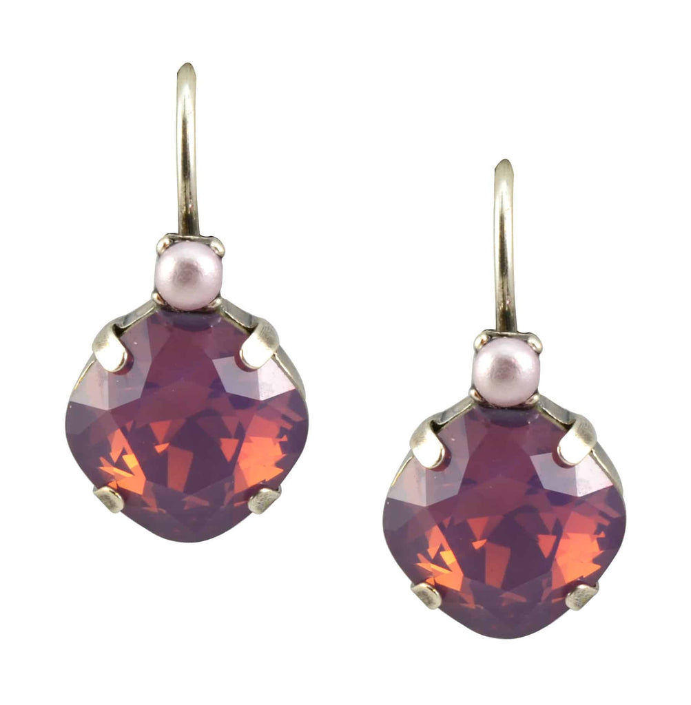 Mariana Silver Plated Round Petite Stack Swarovski Crystal Drop Earrings