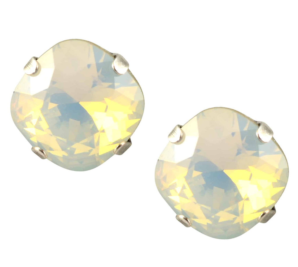 Mariana Jewelry Silver Plated Round Swarovski Crystal Stud Earrings
