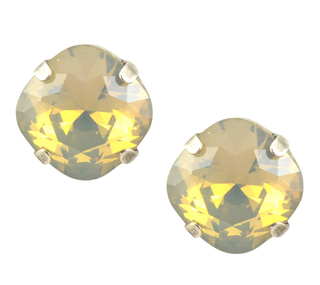 Mariana Silver Plated Round Swarovski Crystal Stud Earrings