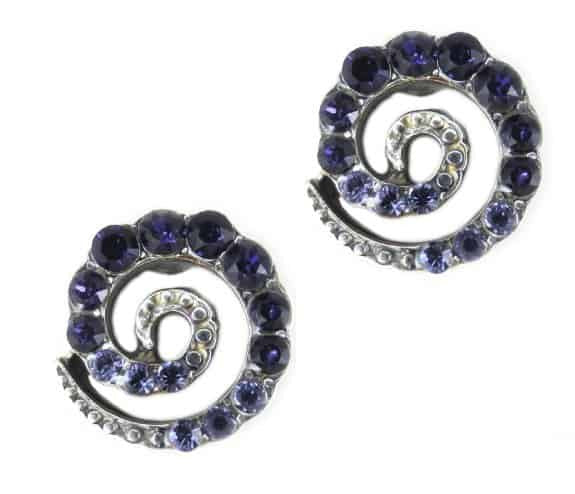 Mariana Jewelry Silver Plated Spiral Post Earrings Swarovski Crystal