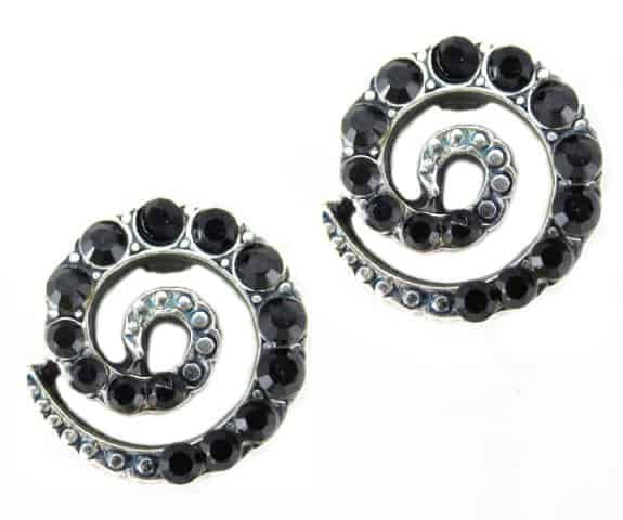 Mariana Jewelry Silver Plated Spiral Post Earrings with Jet Swarovski Crystal