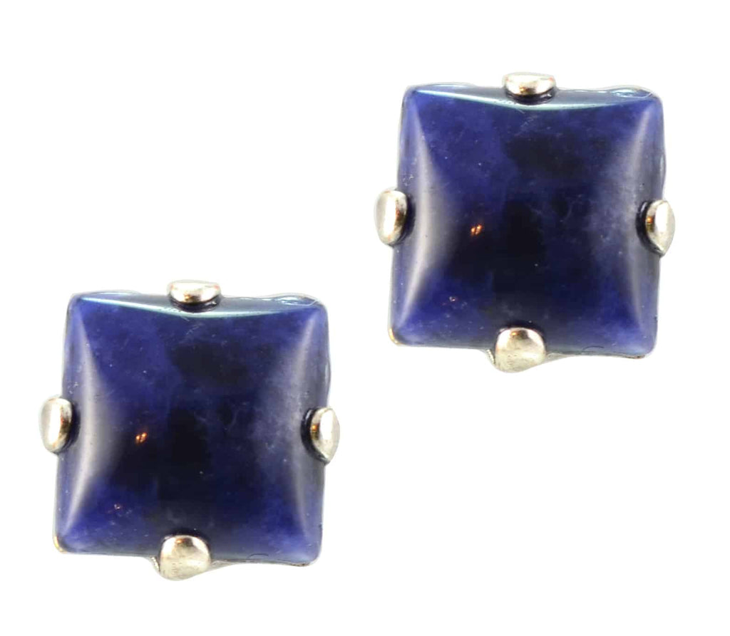 Mariana Jewelry Silver Plated Square Mineral Post Earrings in Blue