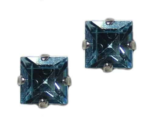 Mariana Silver Plated Square Swarovski Crystal Post Earrings in Aqua