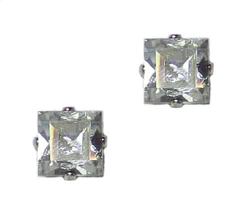 Mariana Jewelry Silver Plated Square Swarovski Crystal Post Earrings in Crystal Aurore Boreale