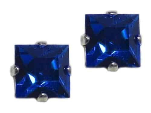 Mariana Jewelry Silver Plated Square Swarovski Crystal Post Earrings in Blue