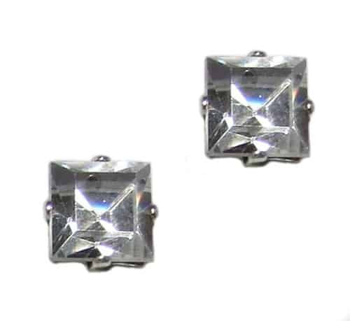 Mariana Silver Plated Square Swarovski Crystal Post Earrings in Clear Crystal