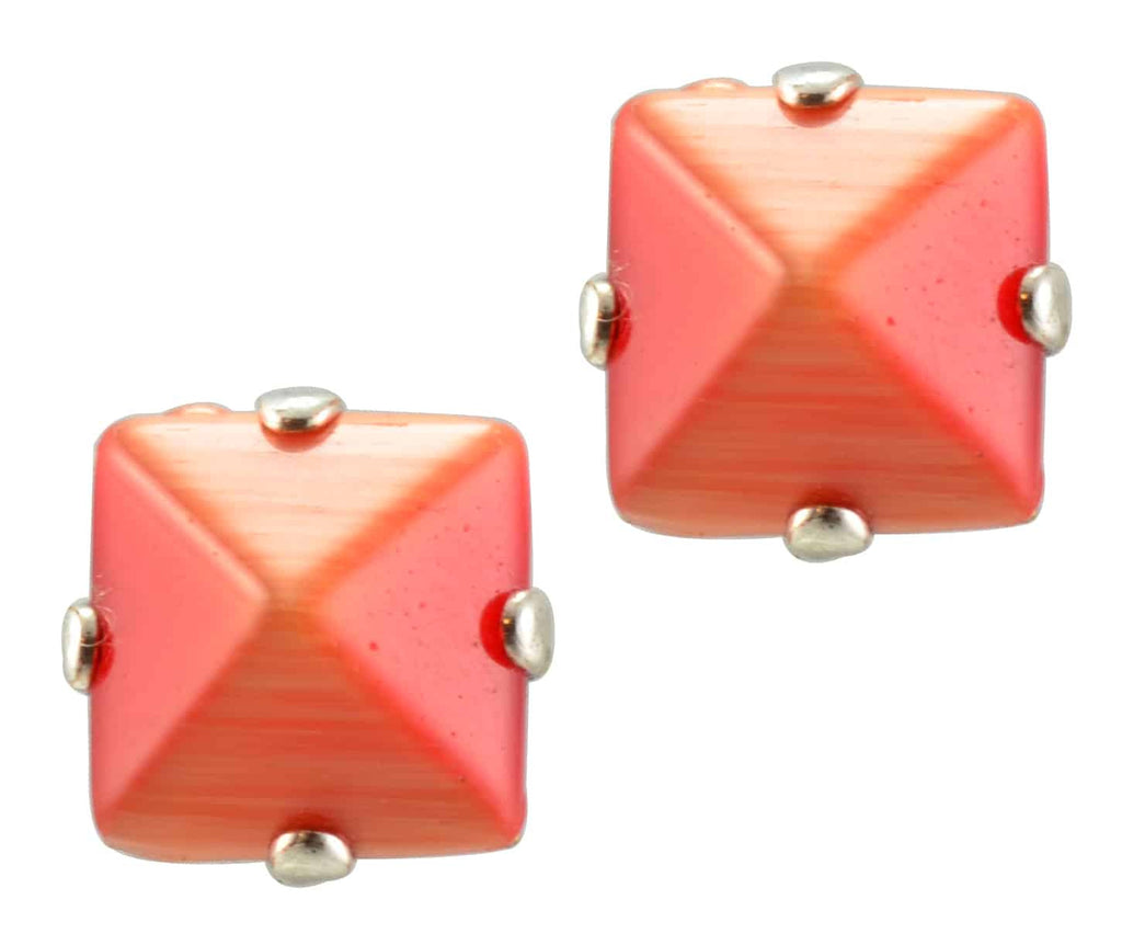 Mariana Silver Plated Square Swarovski Crystal Post Earrings in Coral