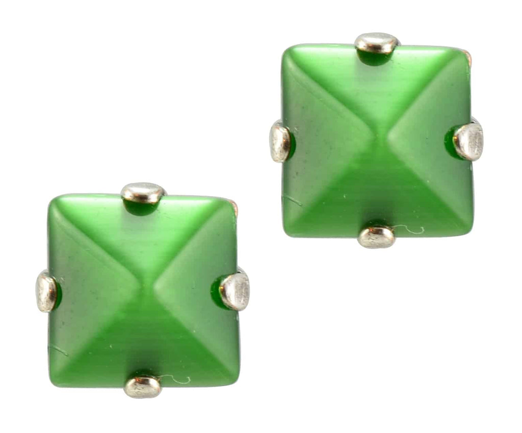 Mariana Jewelry Silver Plated Square Swarovski Crystal Post Earrings in Green
