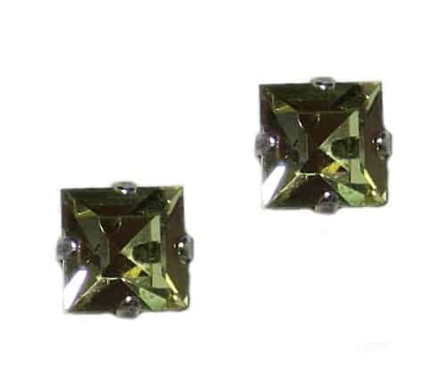 Mariana Silver Plated Square Swarovski Crystal Post Earrings in Jonquil