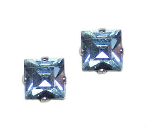 Mariana Jewelry Silver Plated Square Swarovski Crystal Post Earrings in Light Blue Sky