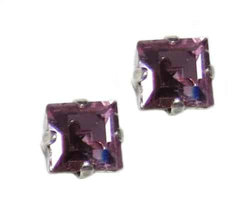 Mariana Jewelry Silver Plated Square Swarovski Crystal Post Earrings in Light Purple