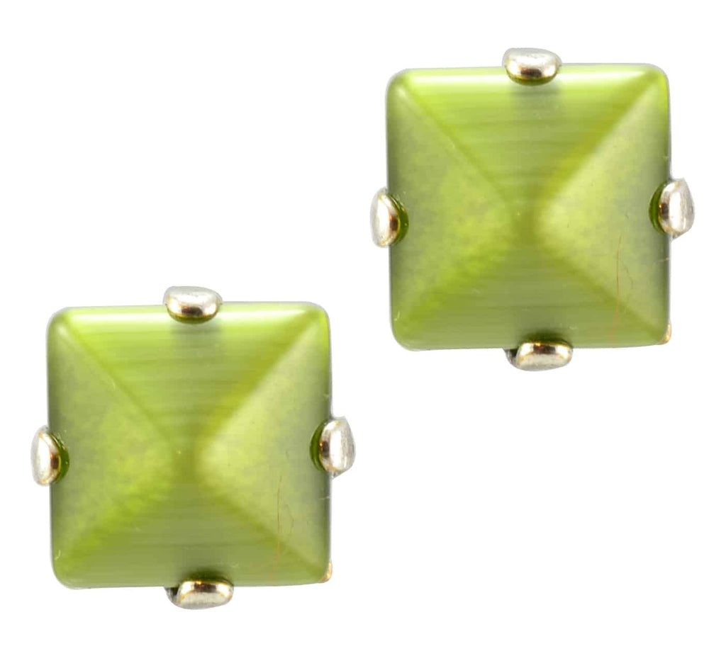 Mariana Jewelry Silver Plated Square Swarovski Crystal Post Earrings in Olive Green