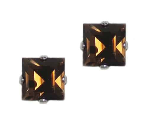 Mariana Jewelry Silver Plated Square Swarovski Crystal Post Earrings in Tobacco