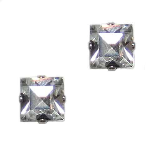 Mariana Silver Plated Square Swarovski Crystal Post Earrings in Crystal Vitrail Light
