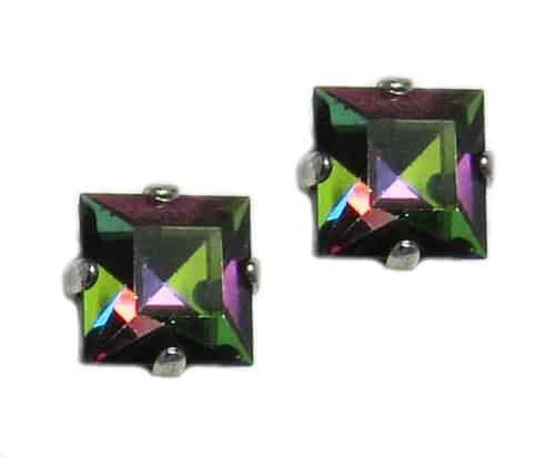 Mariana Silver Plated Square Swarovski Crystal Post Earrings in Crystal Vitrail Medium AB