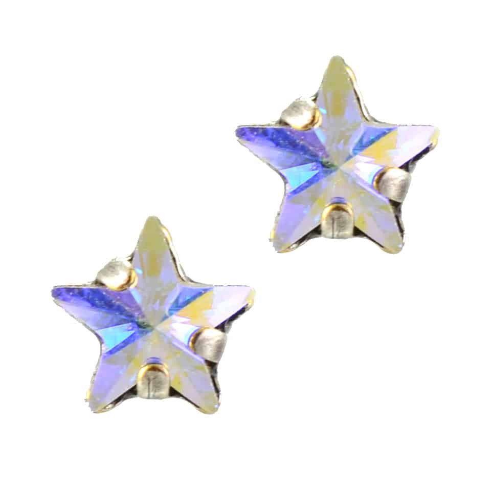 Mariana Jewelry Silver Plated Petite Star Swarovski Crystal Post Earrings in Crystal AB