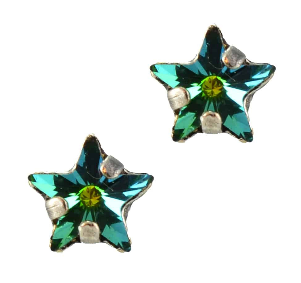 Mariana Jewelry Silver Plated Petite Star Swarovski Crystal Post Earrings in Forest Green