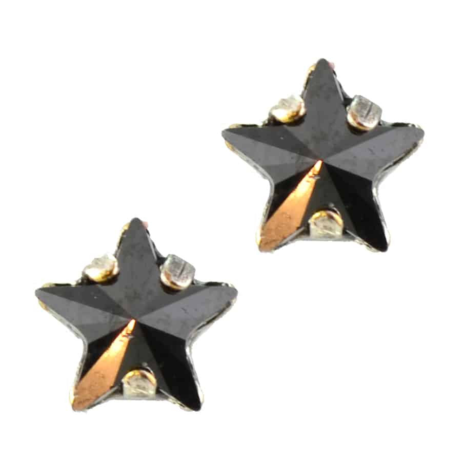 Mariana Jewelry Silver Plated Petite Star Swarovski Crystal Post Earrings in Hematite