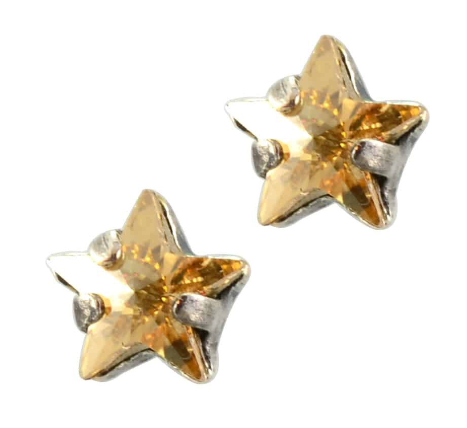 Mariana Jewelry Silver Plated Petite Star Swarovski Crystal Post Earrings in Silk Fawn