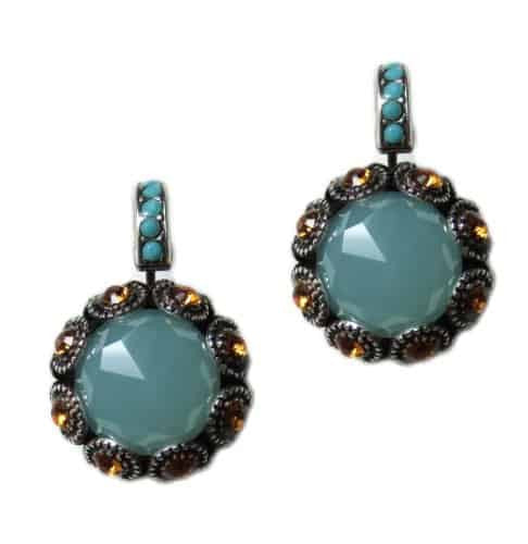 Mariana Jewelry Silver Plated Sunflower Drop Earrings with Fawn and Aqua Swarovski Crystals