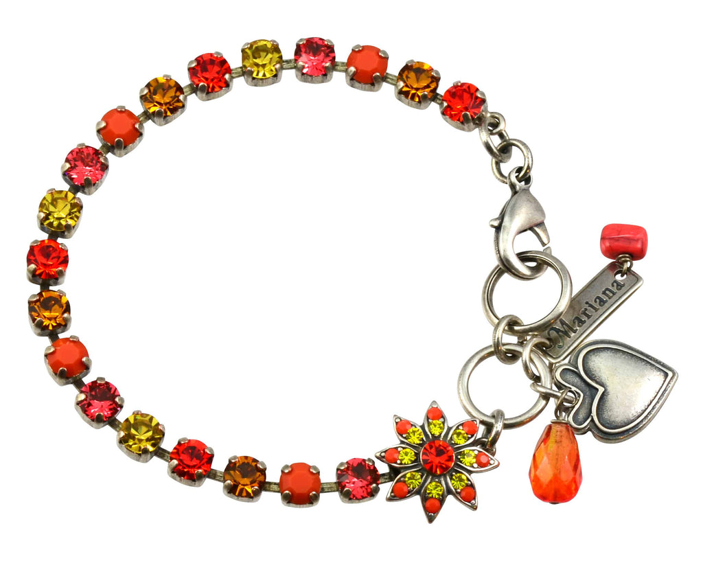 Mariana Jewelry Strength Silver Plated Swarovski Crystal Tennis Bracelet with Flower and Heart, 8